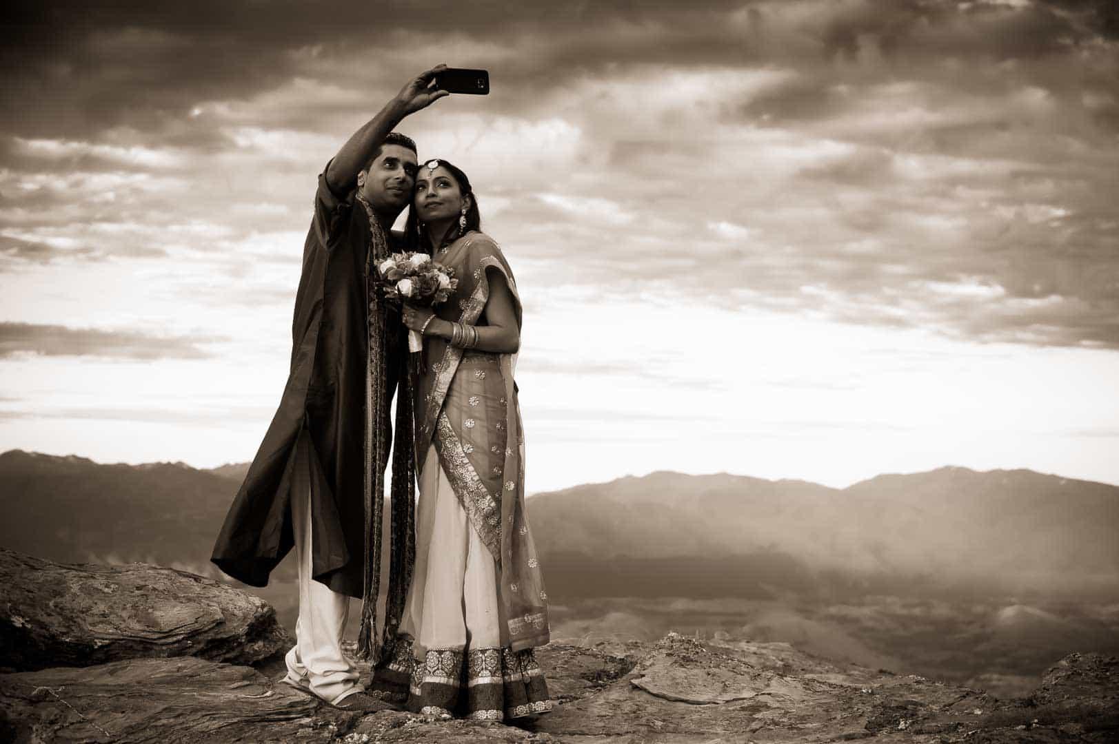 Queenstown Wedding Photographer Rav and Shirlene's sunset heli-wedding - The Ledge, Cecil Peak fallon photography