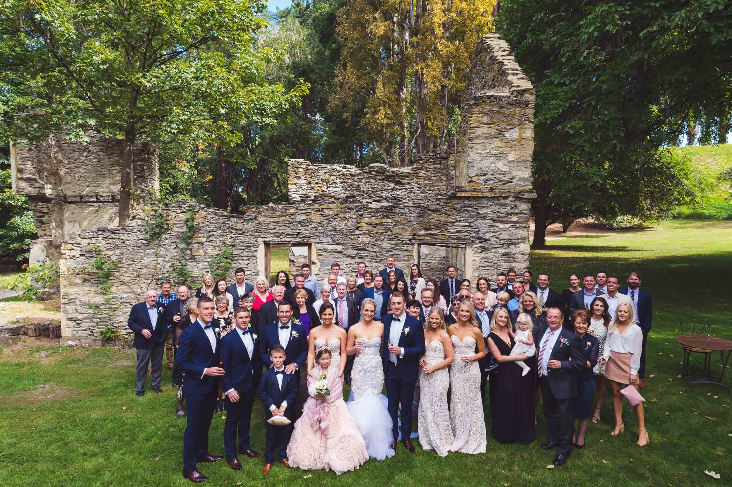 Thurlby Domain ruins wedding ceremony group photo