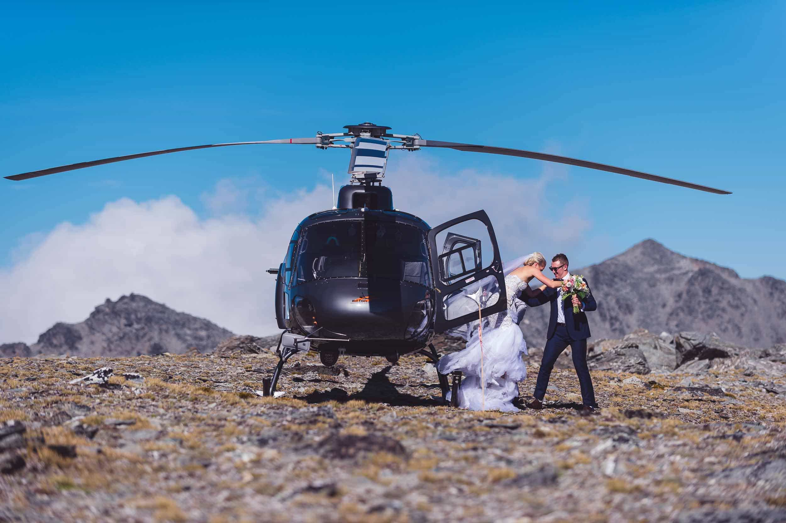 Queenstown wedding helicopter photo flight remariables double cone