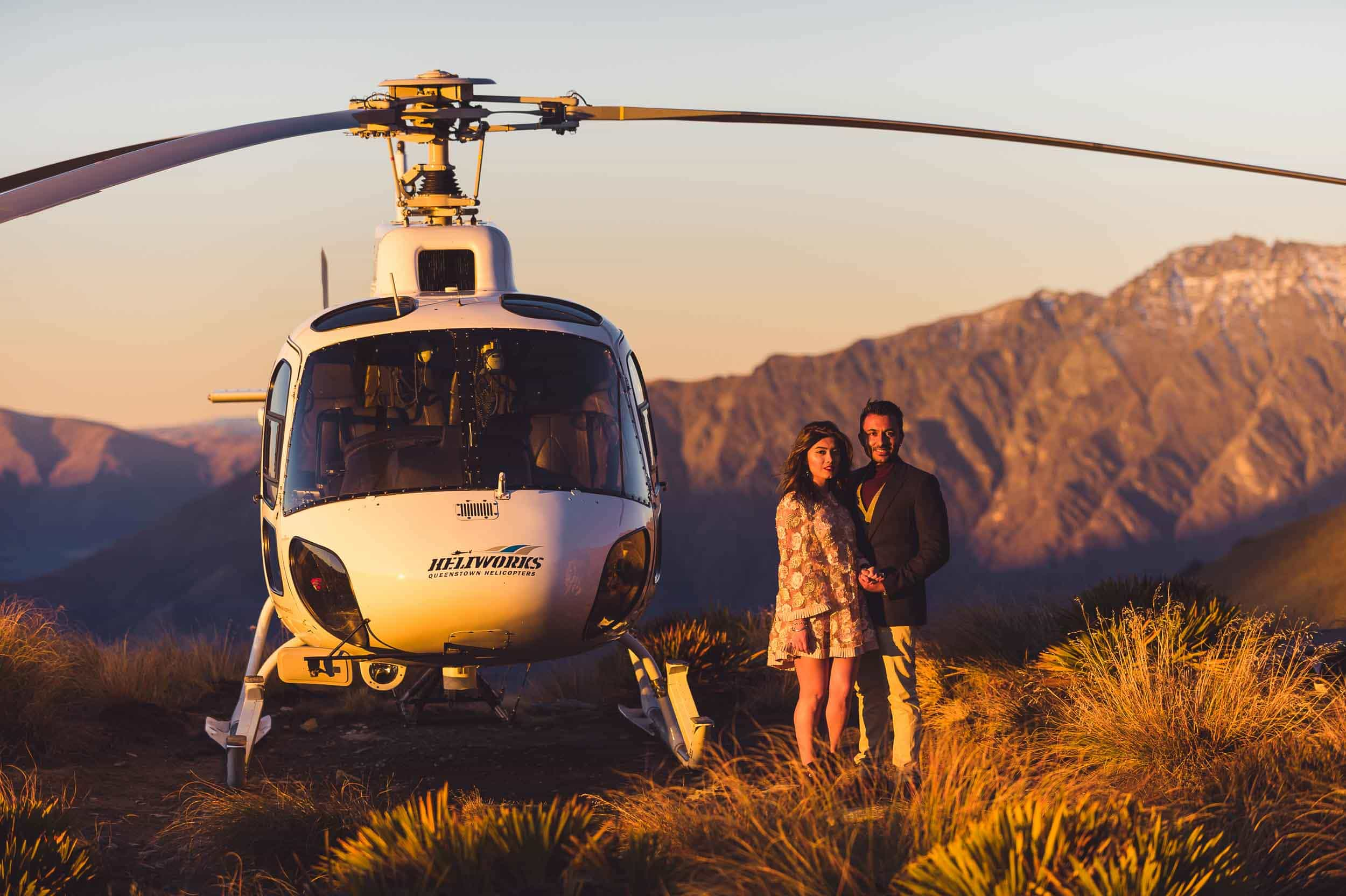 Queenstown Engagement Photography Queenstown heli wedding photos Roshan + Sujata | Surprise Mountain Top Proposal fallon photography