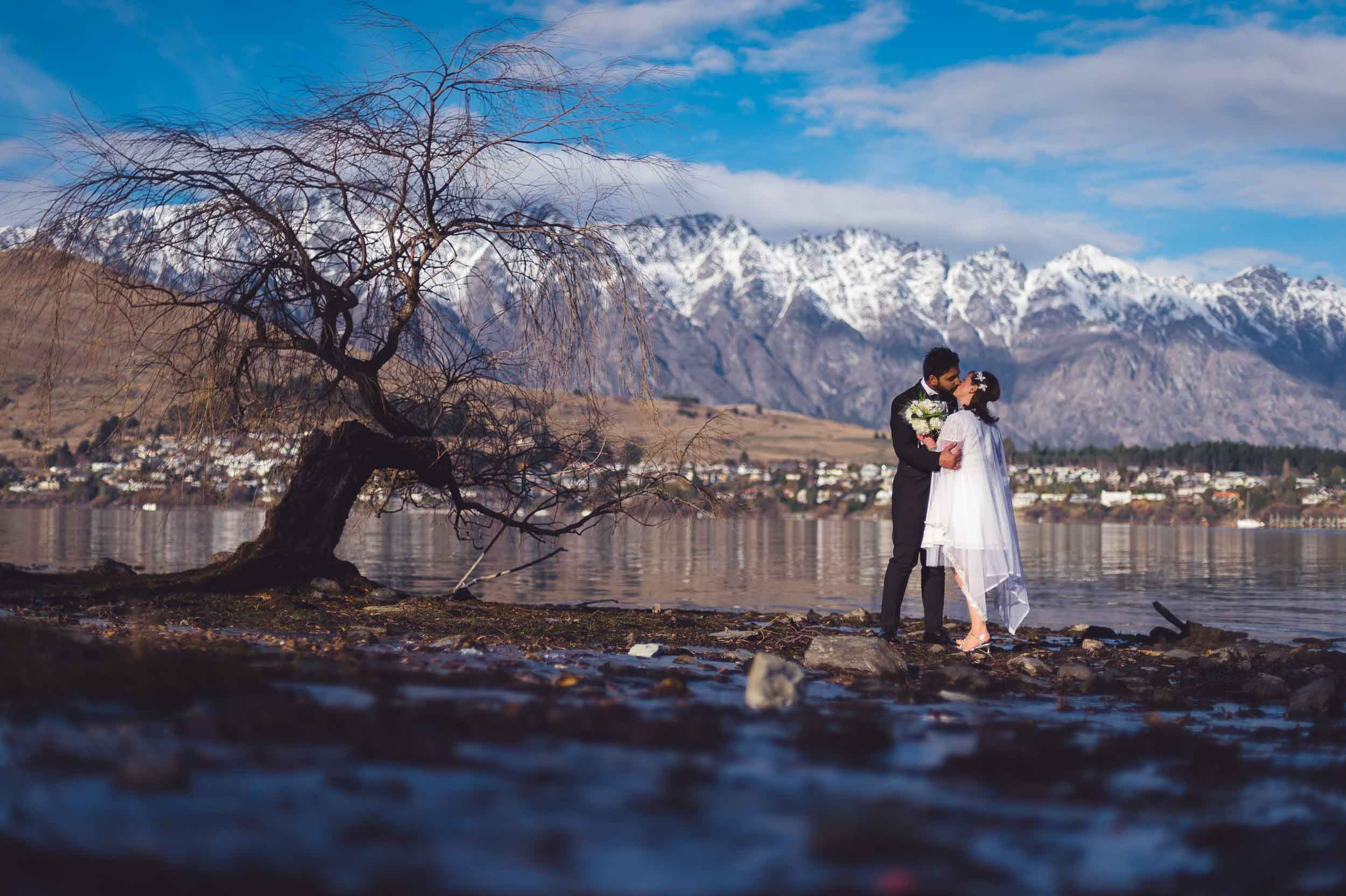 Queenstown post-wedding shoot trash the dress