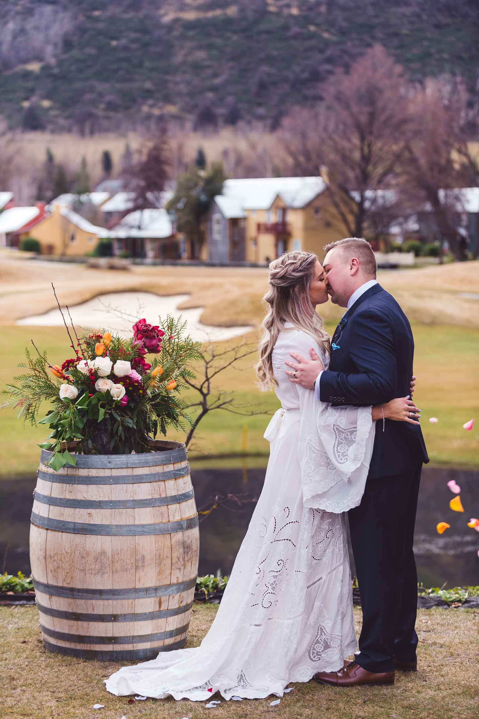 Millbrook resort winter wedding secret garden ceremony first kiss