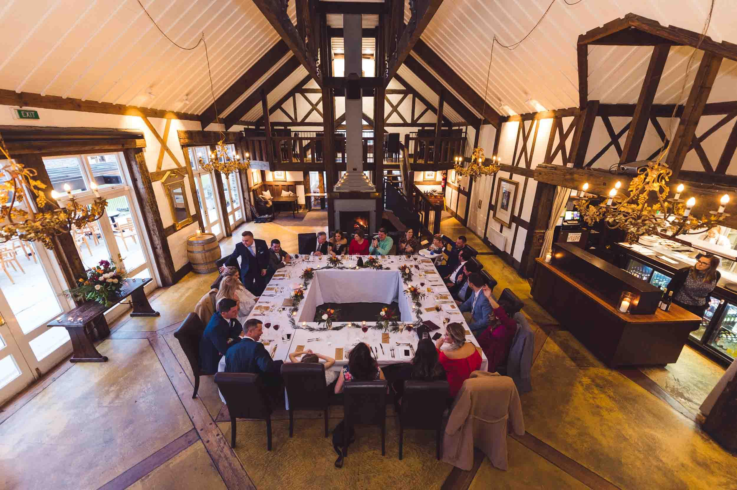 Millbrook Resort winter wedding clubhouse restaurant