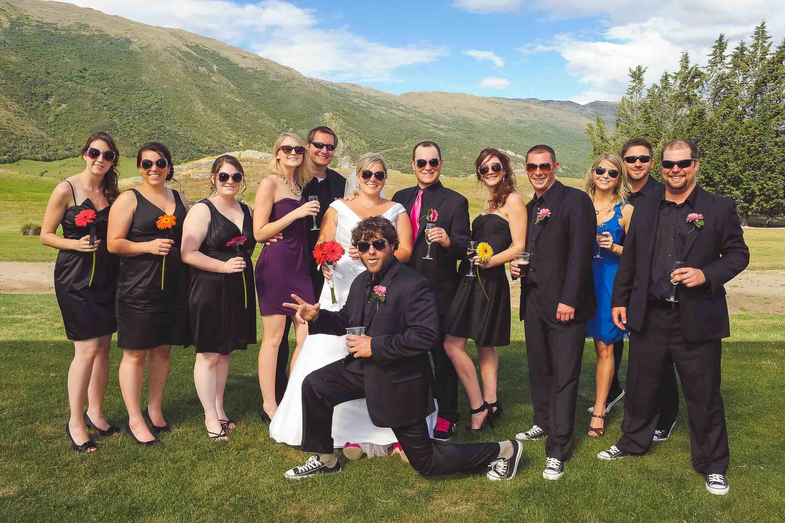 blog post featured image how to totally nail the family photos on your wedding day Queenstown Wedding Formals Peregrine winery ceremony-bridal-party-photo-fun peregrine winery family photo