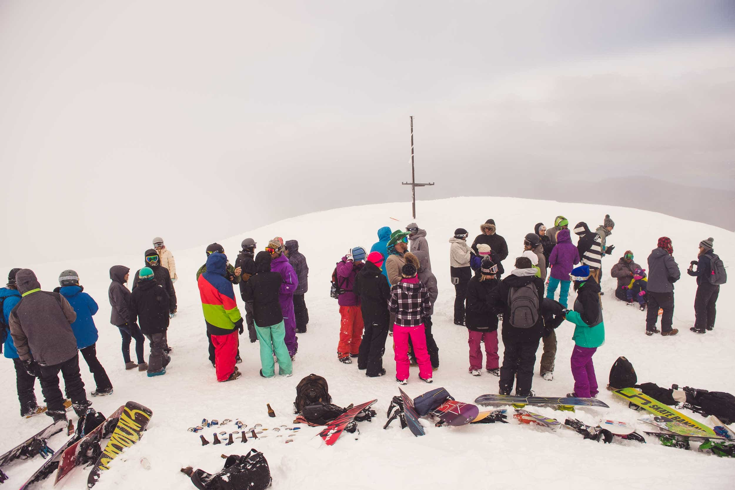 Now this is what I call a Queenstown Winter Wedding!!  At Coronet Peak...on snowboards...in a snow storm!! fallon photography