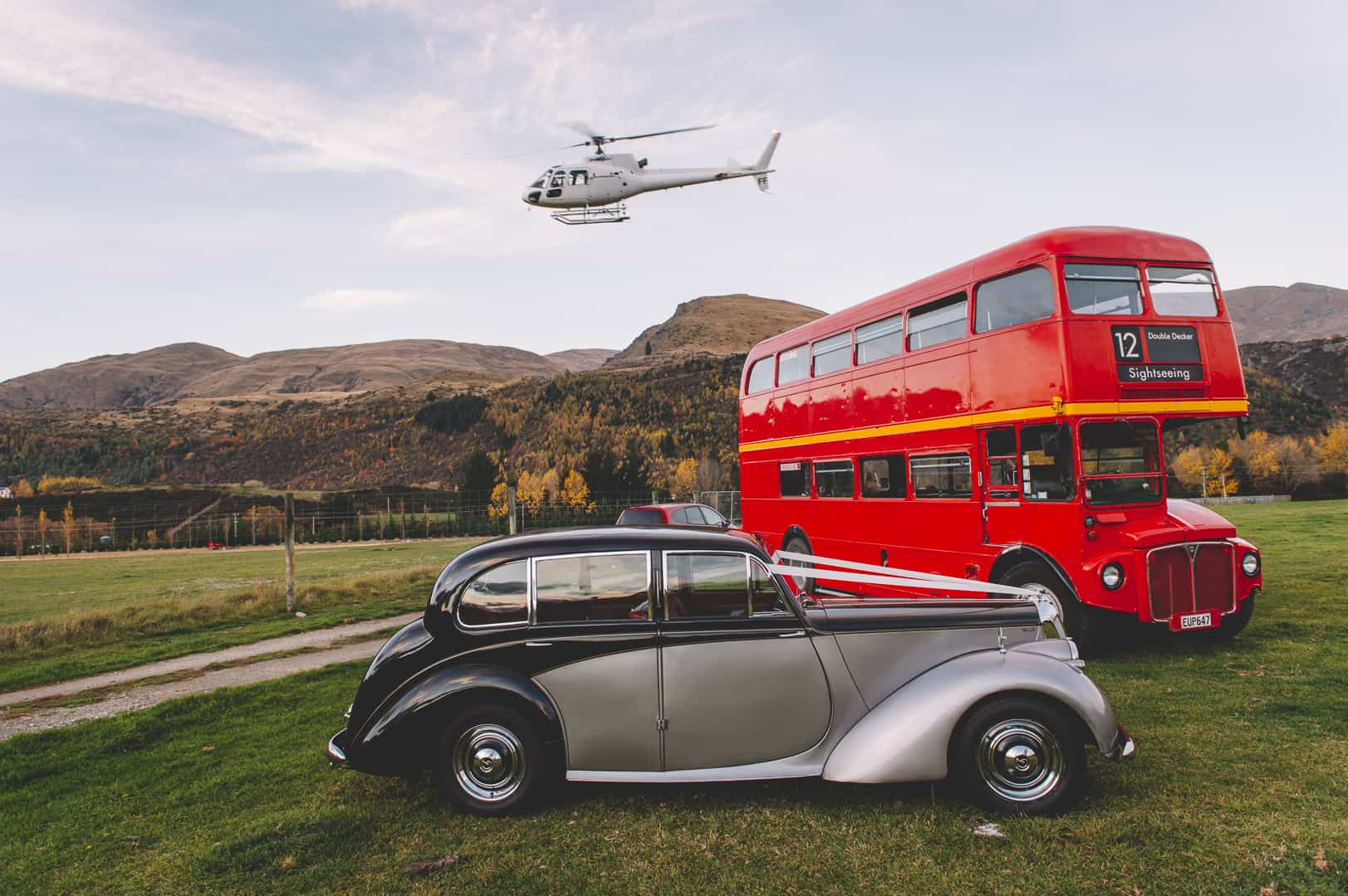 queenstown wedding transport helicopter car double decker bus