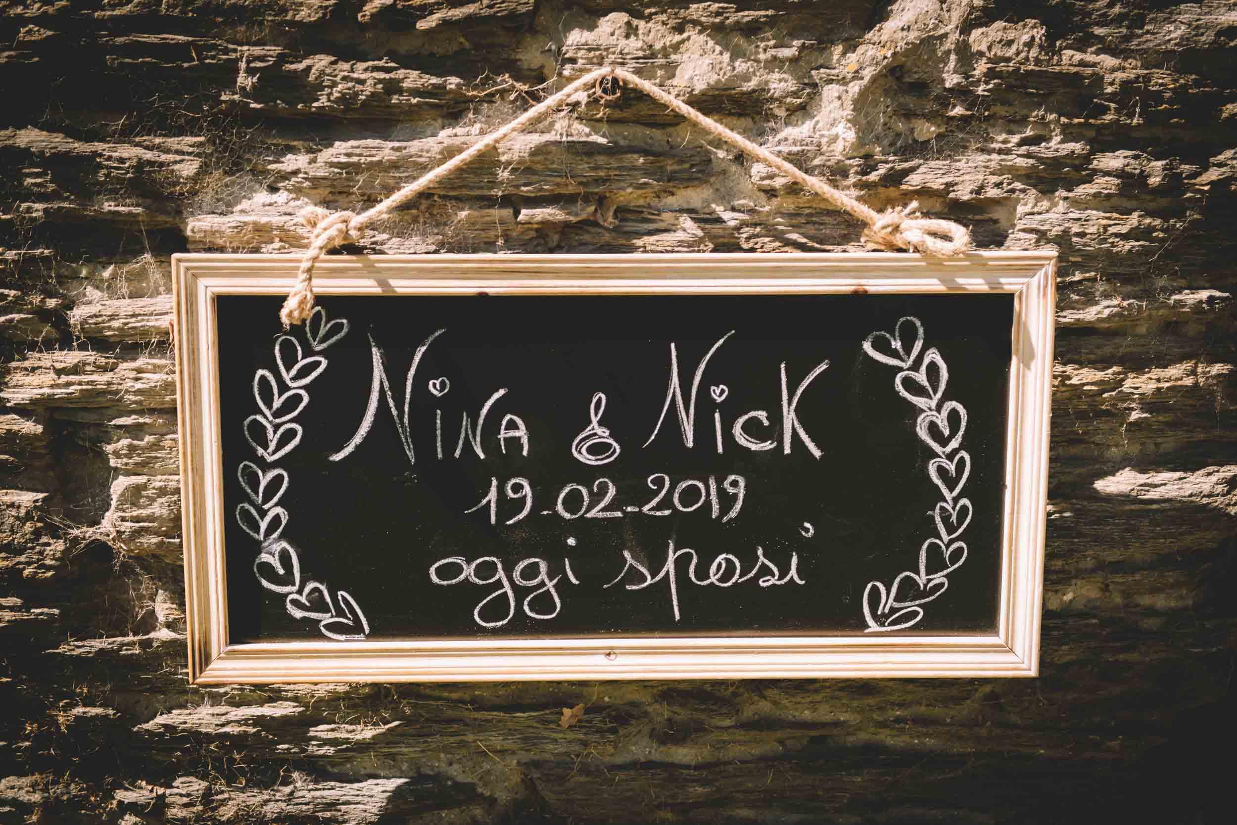 Nick & Nina's Thurlby Domain Elopement sign