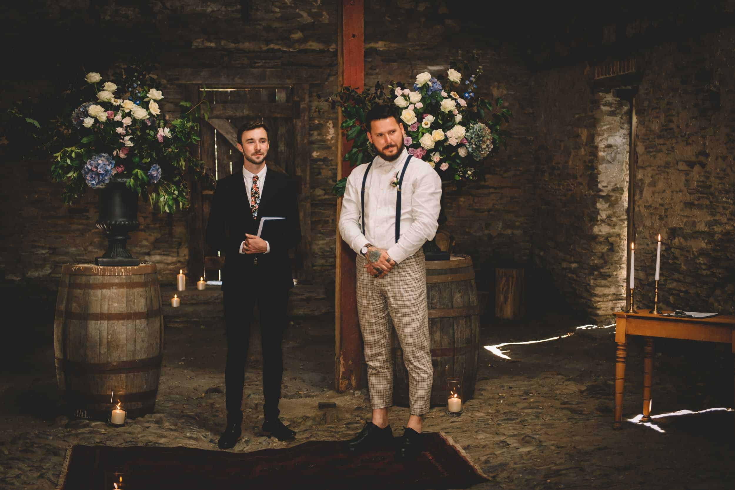 Nick & Nina's Thurlby Domain Elopement old stone stables wedding ceremony nervous groom waiting