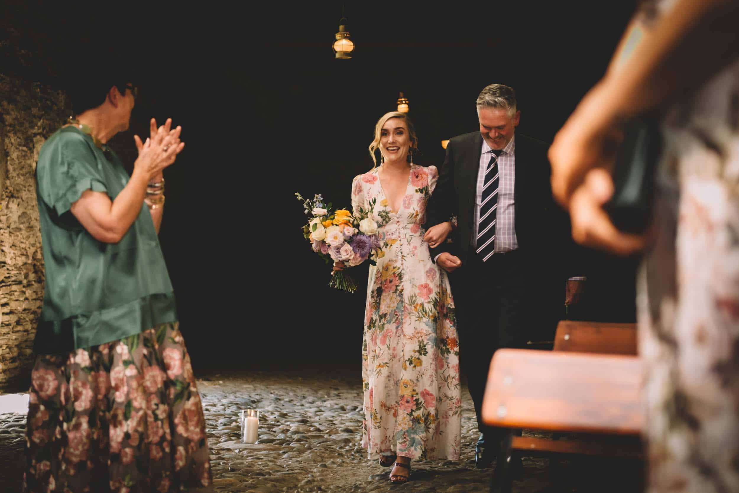 Nick & Nina's Thurlby Domain Elopement old stone stables wedding ceremony walking down the aisle