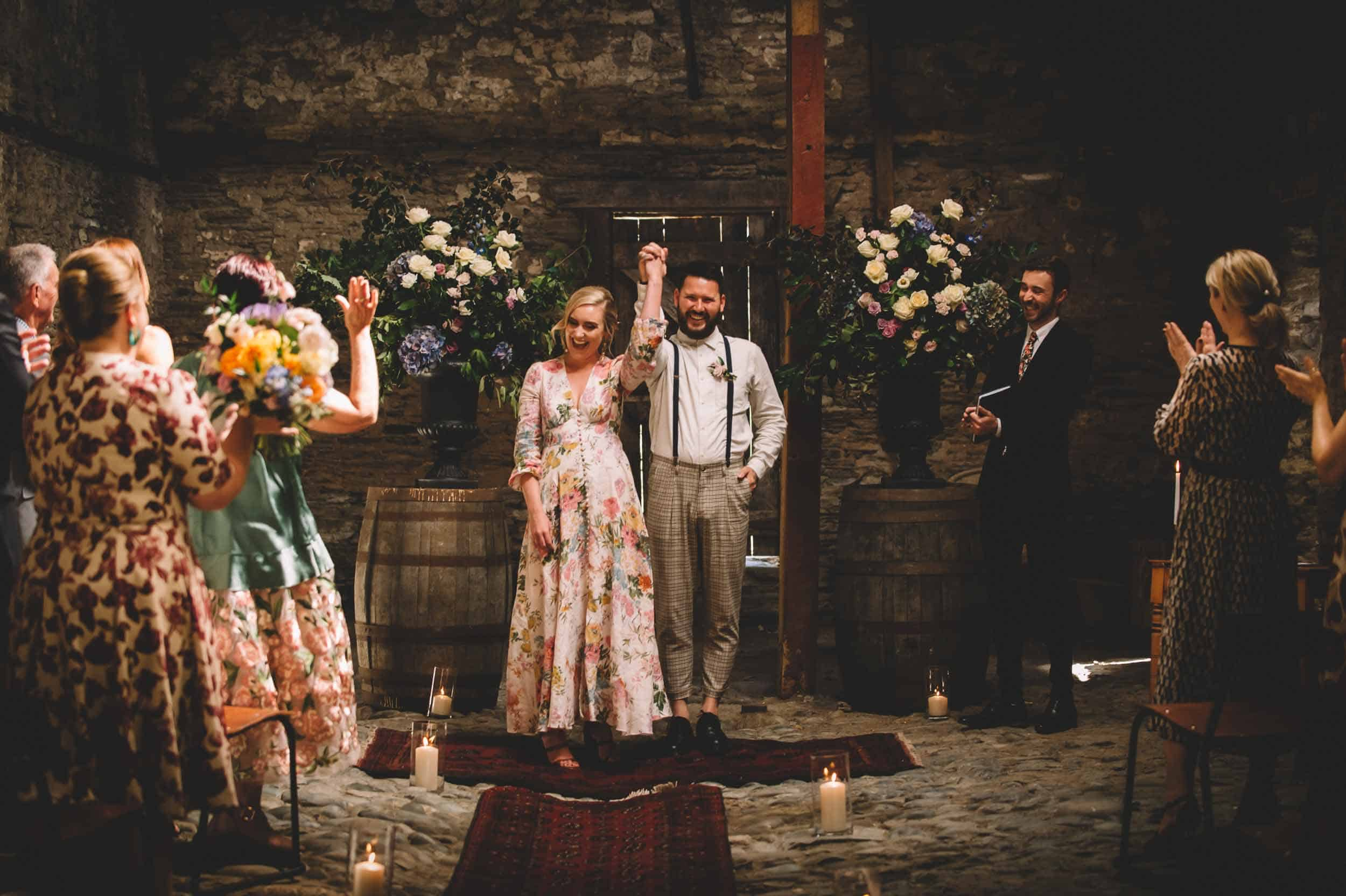 Nick & Nina's Thurlby Domain Elopement old stone stables wedding ceremony
