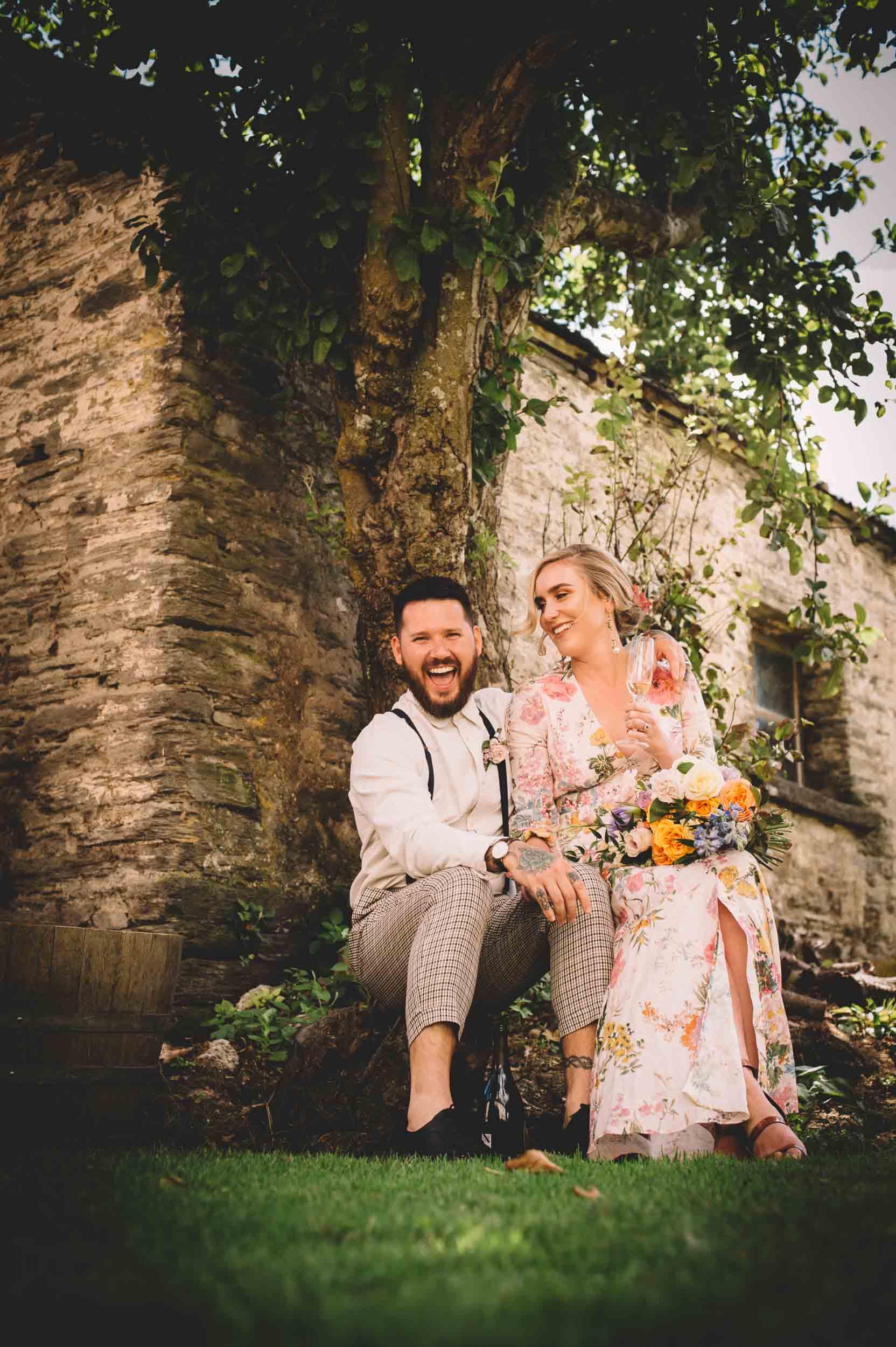 Nick & Nina's Thurlby Domain Elopement old stone building bride & groom photos