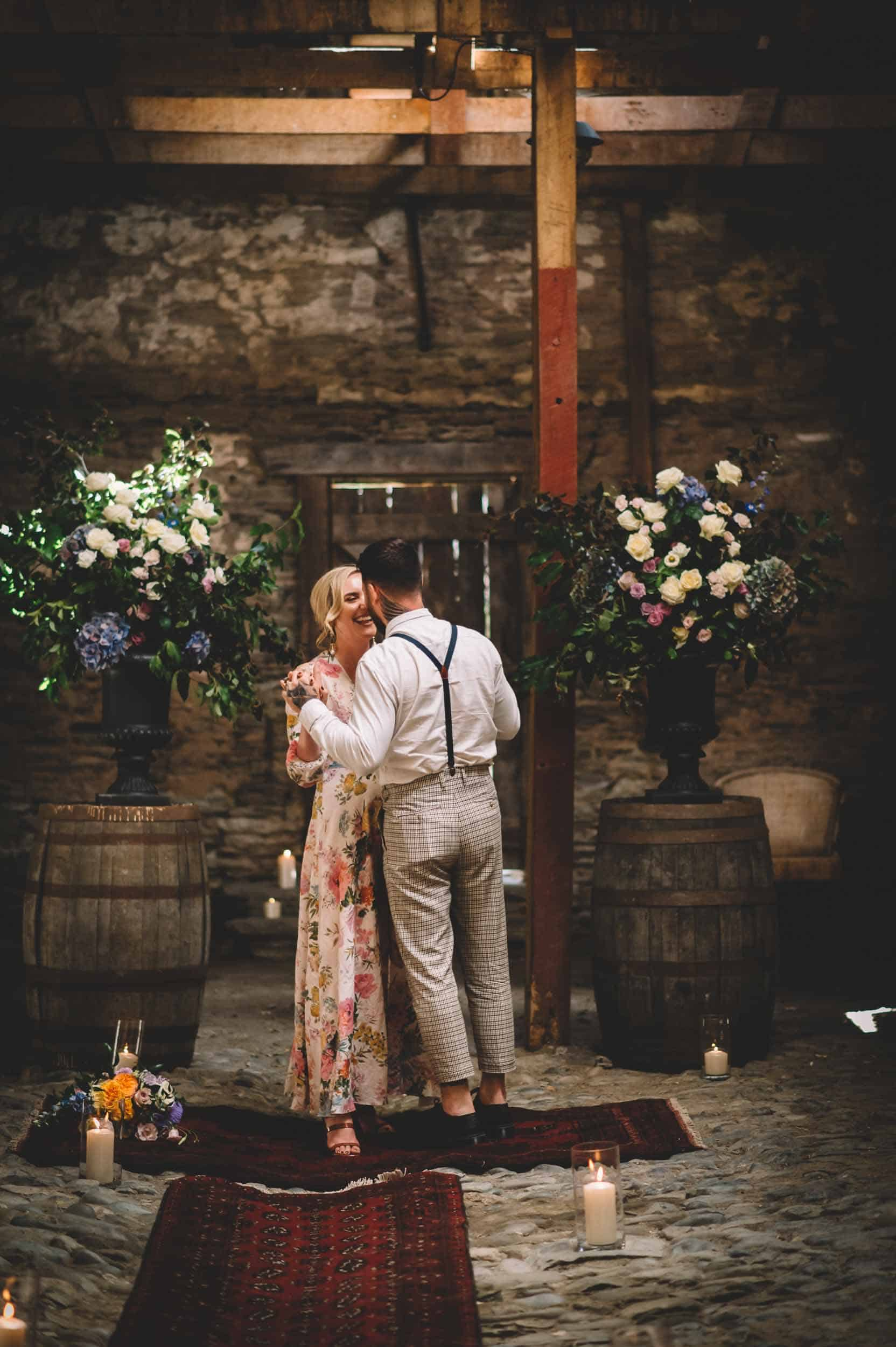 Nick & Nina's Thurlby Domain Elopement old stone stables bride & groom photos