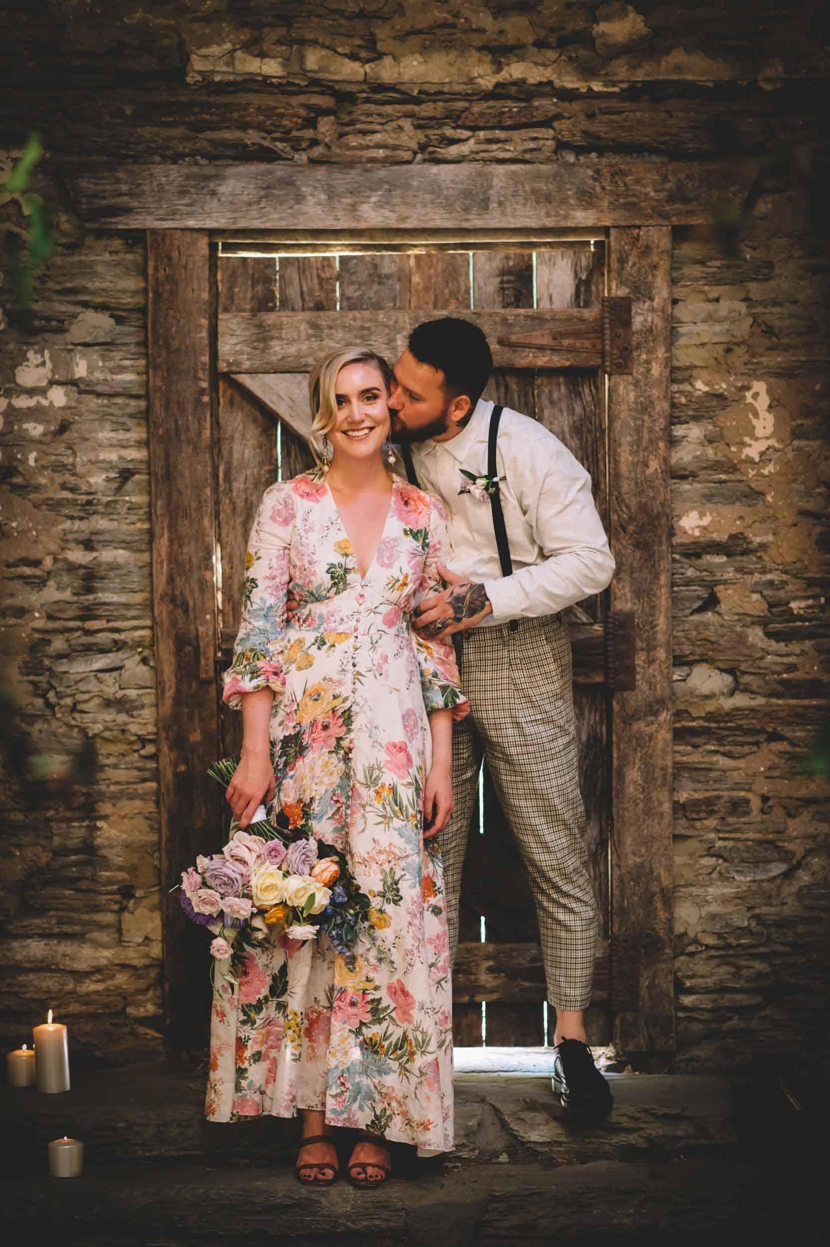 Nick & Nina's Thurlby Domain Elopement bride & groom photos stone stables