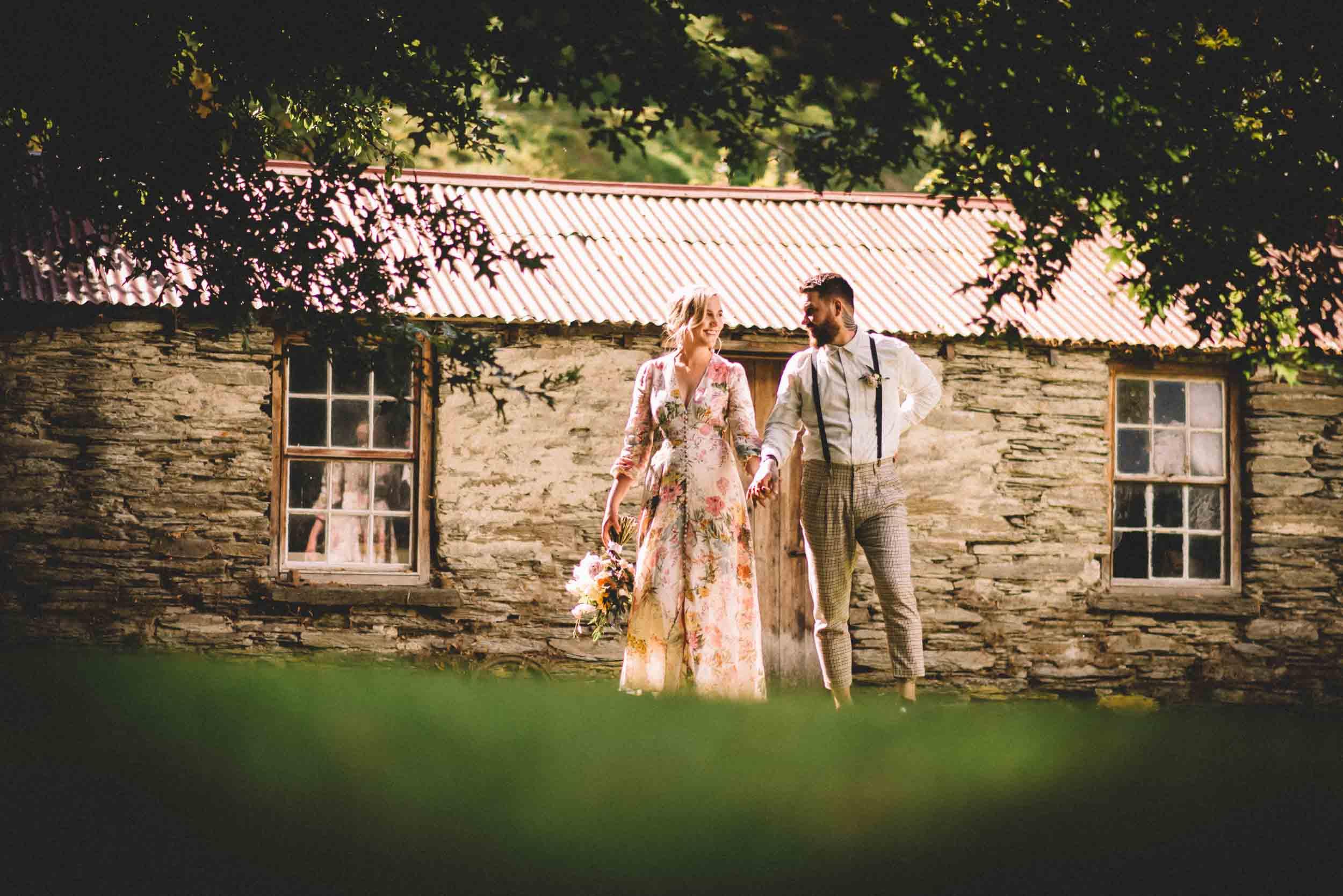 Nick & Nina's Thurlby Domain Elopement bride & groom photos tree old stone cottage