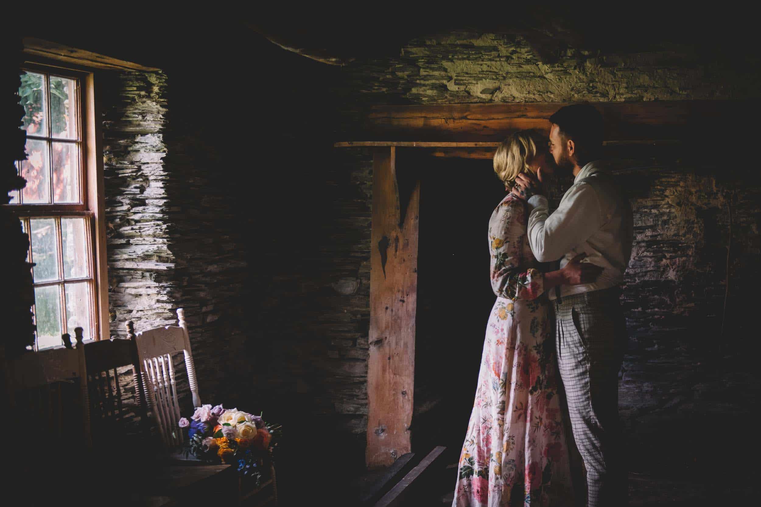 Nick & Nina's Thurlby Domain Elopement bride & groom photos tree