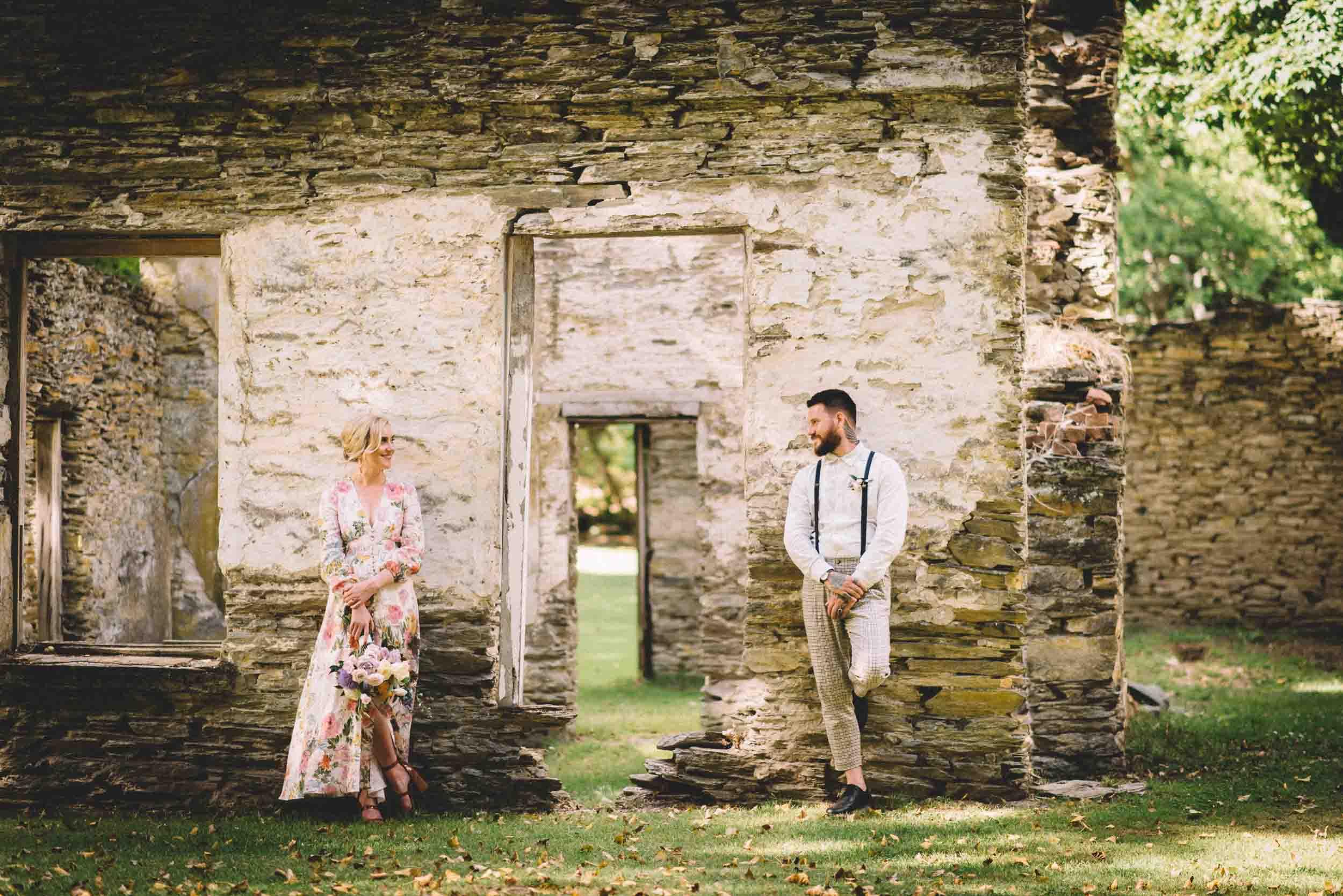 Nick & Nina's Thurlby Domain Elopement bride & groom photos old stone ruins