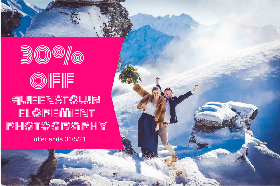 blog post featured image cta graphic 30% off queenstown elopement photography